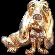 Vintage Signed Craft Hound Dog Brooch - Rhinestone Eyes and Nose