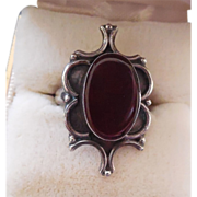 SALE Vintage Sterling Silver Ring With Red Glass Stone - Size 6