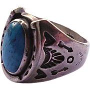 SALE Signed Vintage Native American Ring - Sterling Silver With Turquoise Stone, Horseshoe and
