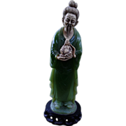 Large Vintage Faux Jade & Ivoroid Statue - Chinese Man Holding Seated Buddha