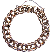 """8"""" Long - 1/20 12K GF Double Link Starter Charm Bracelet With Safety Chain Signed ..."""