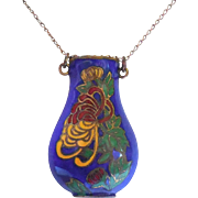 SALE Lovely Cloisonne Enamel Over Brass Urn or Vase Necklace On 12/20 K Gold ...