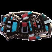 Native American Zuni Rainbow Dancer Bracelet by Gillerimo & Betty Natachu