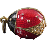 Sterling Enamel Ladybug Pendant or Charm With Crystals & Red and Black Enamel