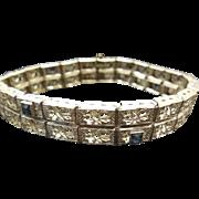 Beautiful Art Deco Sterling Silver Filigree Bracelet With Blue Stones