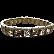 Vintage Art Deco Filigree Rhodium Plated Bracelet Signed JHR