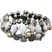 Flashy Vintage Bracelet - Milk Glass, Clear & White, AB Stones, & Faux Pearls