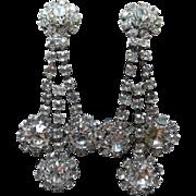 Fabulous Long Rhinestone Three Dangle Crystal Earrings