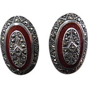 SALE Sterling Silver & Marcasite Earrings with Red Orange Stone or Glass