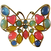 SALE Signed Trifari TM Mosaic Lucite Butterfly Brooch - Circa 1980s