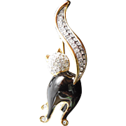 Attwood Collection Black Cat Brooch - Enamel Crystal 22K Gold Triple Plate In OB