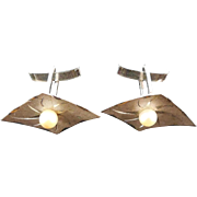 Vintage Sterling Silver & Pearl Cufflinks - Diamond Shape With Etched Ray Design