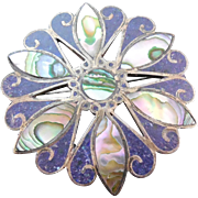 Gorgeous Inlaid Stone & Shell Circle Star Brooch With Older Eagle 3  - Taxco - Signed HDA