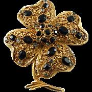Vintage Florenza Large Flower or Shamrock Brooch with Clear & Black Stones