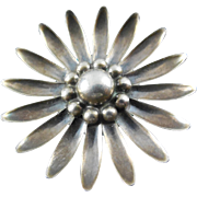 Denmark Sterling Silver Flower Brooch - Signed HS