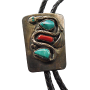 Vintage Zuni Old Pawn Bolo Tie Signed JC With Snake Turquoise Coral Bolo Marked Bennett ...