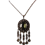 Vintage Signed Goldette Necklace Smoky Gray Stone With Dangles