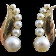 SALE Beautiful Vintage 14K Gold & Pearl Earrings - Late Art Deco