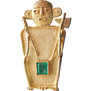 18K Gold & Emerald Inca Human Figure Brooch - Orejones