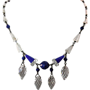 SALE Vintage Czechoslovakia Necklace Cobalt Blue and Clear Beads with Faceted Glass and 4 Drop