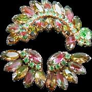 SALE Fabulous Juliana Watermelon Green and Pink Brooch & Earrings Set