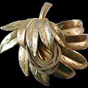 Vintage Kramer Brooch - Lovely Textured Botanical Brooch Enhanced With Chains
