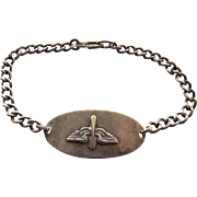 WWII Sterling Silver USAAF Sweetheart Bracelet With Wings & Propeller - Engraved