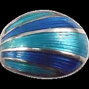 Norway David Andersen Sterling Enamel Spoon Ring - Size 4 - Blue & Teal Enamel