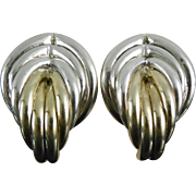 SALE Designer Signed Brian Bergner Sterling Silver Earrings - Two Tone In Silver & Gold