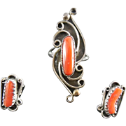 SALE Signed Native American Navajo Sterling Coral Ring & Earrings Set - Rose Castillo Draper