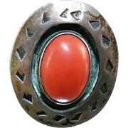SALE Older Signed Native American Silver Red Coral Ring - Danny Y