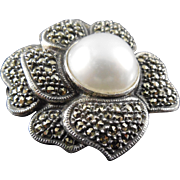 SALE Signed Judith Jack Marcasite Flower Brooch Sterling Silver Faux Pearl Center