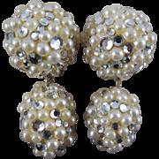 SALE Vintage James Arpad Rhinestone Faux Pearl Disco Earrings - 1980s
