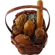 Dollhouse Miniature Realistic Basket Of Bread
