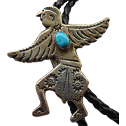 Vintage Sterling Native American Eagle Dancer Bolo Tie Turquoise