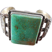 Vintage Native American Silver Bracelet With Large Blue Green Turquoise Stone
