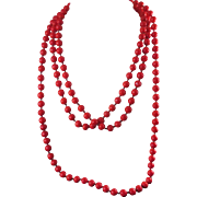 """Antique Bright Red Glass Bead Necklace -  Long  64"""" -  Knotted Between Beads"""