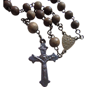 SALE Antique 1800s Wood Bead Rosary With Rare Upside Down Center Medal & Stamped Crucifix