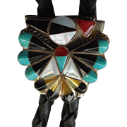SALE Vintage Native American Zuni Peyote Bird Bolo Tie With Inlaid Stones and Shell - RL ...