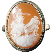 SALE Vintage 800 Coin Silver Shell Cameo Ring with Greek or Roman Chariot  -  Size 6.5