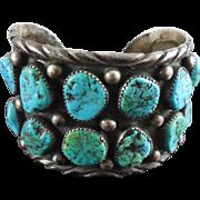 SALE Beautiful Older Vintage Navajo 12 Stone Silver & Turquoise Bracelet
