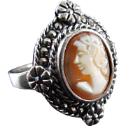 SALE Vintage Sterling Silver & Marcasite Shell Cameo Ring - Size 9