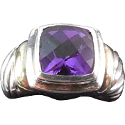 SALE David Yurman Sterling and 14K Gold Amethyst Ring - Size 5