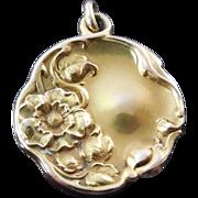 Art Nouveau 14K Gold Locket With Lovely Flower Decorations