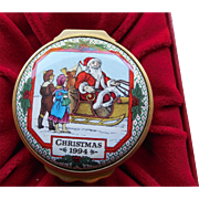 SALE 1994 Halcyon Days Enamels Christmas Box - In Original Box With COA