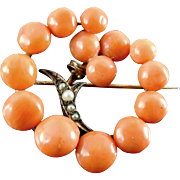 Lovely Victorian Natural Coral Brooch With Seed Pearls 9K Gold