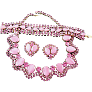 SALE Gorgeous Pink Rhinestone Parure - Unsigned Warner Necklace Bracelet Earrings