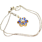 SALE Signed Walter Lampl Blue Enamel Gold Filled Necklace With Flower Pendant