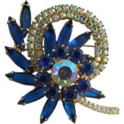 SALE Gorgeous Vintage Brooch With Blue and AB Rhinestones - Large Size
