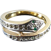 Vintange Coiled Snake Ring With Clear and Green Glass Stones - Size 5